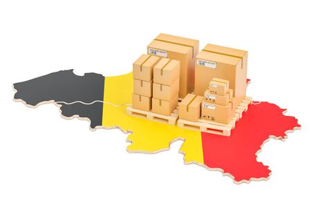 Shipping and Delivery from Belgium isolated on white background Stock Photo