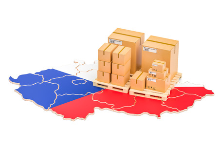 Shipping and Delivery from Czech Republic isolated on white background Stock Photo