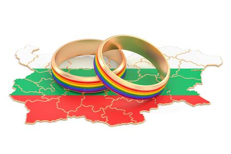 Bulgarian map with LGBT rainbow rings, 3D rendering