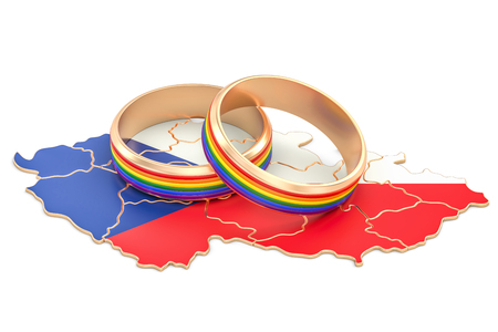 Czech Republic map with LGBT rainbow rings, 3D rendering