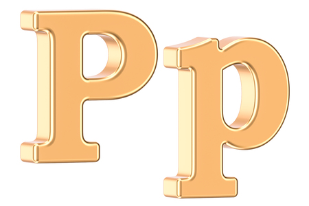 english letters: English golden letter P, 3D rendering isolated on white background