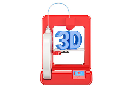 Modern red 3D printer, 3D rendering isolated on white background Stock Photo