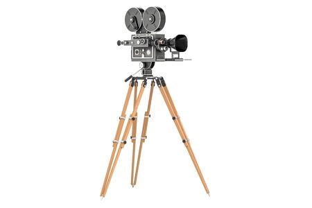 Old movie camera, closeup. 3D rendering isolated on white background