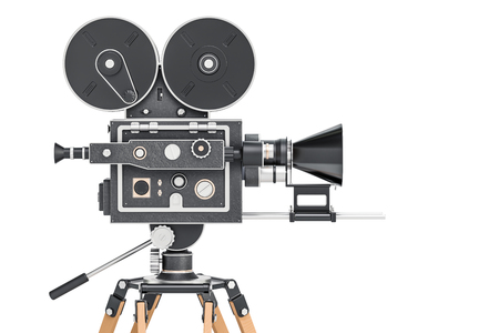 Old movie camera, side view. 3D rendering isolated on white background