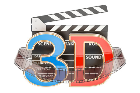 film industry: 3D cinema concept with movie clapper board, 3D rendering