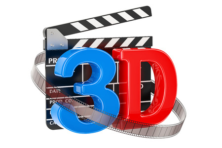 3D cinema concept with movie clapper board, 3D rendering isolated on white background