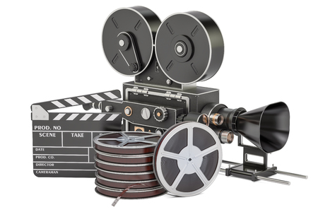 Cinema concept. Clapperboard with film reels and movie camera, 3D rendering isolated on white background Stok Fotoğraf
