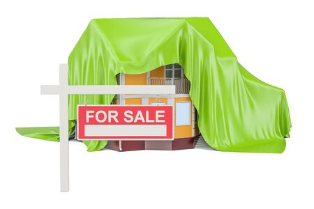 For Sale, Real Estate concept, 3D rendering isolated on white background Stock Photo