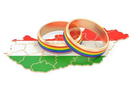 Hungarian map with LGBT rainbow rings, 3D rendering