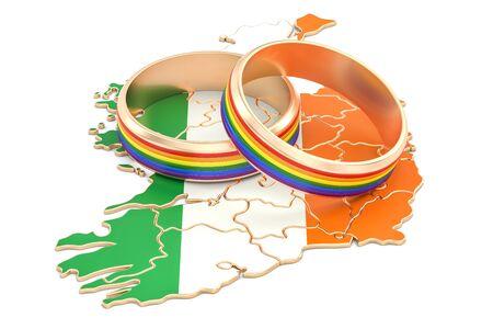 Irish map with LGBT rainbow rings, 3D rendering