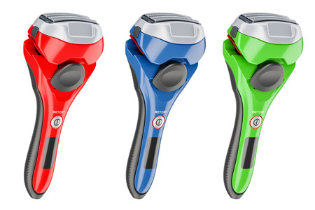 set of colored foil-type cordless razors, 3D rendering isolated on white background