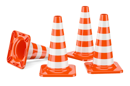 Set of Traffic Cones, 3D rendering isolated on white background