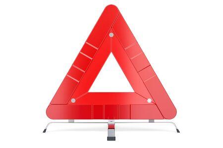 警告三角形、正面。白い背景に分離された 3 D レンダリング 写真素材