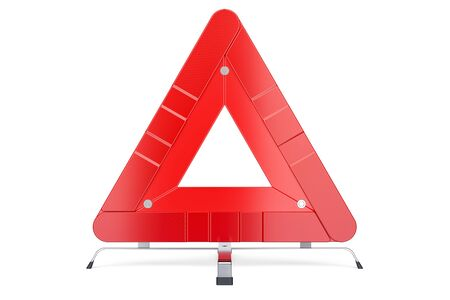 Warning Triangle, front view. 3D rendering isolated on white background