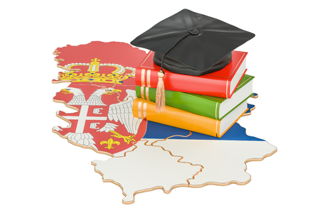 Education in Serbia concept, 3D rendering isolated on white background Stock Photo