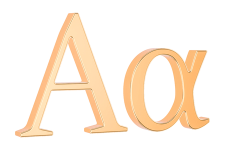Golden Greek letter alpha, 3D rendering isolated on white background