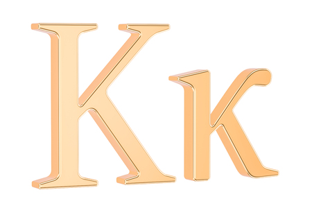 Golden Greek letter Kappa, 3D rendering isolated on white background