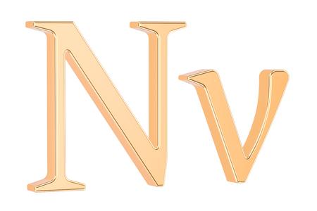 황금 그리스 문자 Nu, 흰색 배경에 고립 된 3D 렌더링