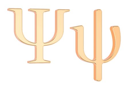 황금 그리스 문자 Psi, 흰색 배경에 고립 된 3D 렌더링