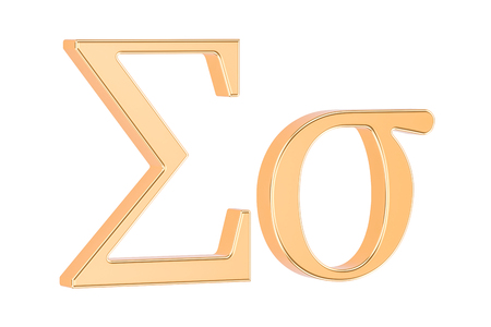 Golden Greek letter Sigma, 3D rendering isolated on white background Stock Photo