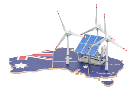 Renewable energy and sustainable development in Australia, concept. 3D rendering isolated on white background