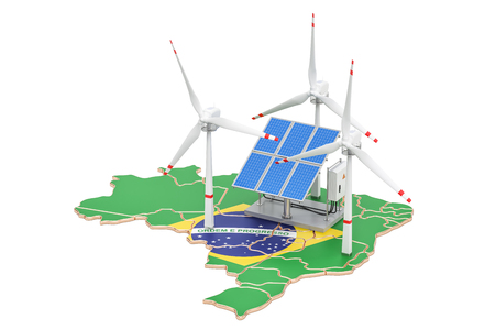 Renewable energy and sustainable development in Brazil, concept. 3D rendering isolated on white background