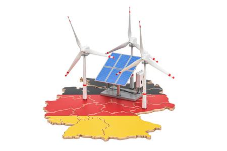 Erneuerbare Energien und nachhaltige Entwicklung in Deutschland, Konzept. 3D-Rendering isoliert auf weißem Hintergrund