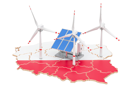 Renewable energy and sustainable development in Poland, concept. 3D rendering isolated on white background