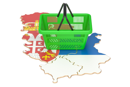 Shopping basket on Serbia map, market basket or purchasing power in Ireland concept. 3D rendering