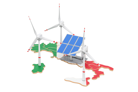 Renewable energy and sustainable development in Italy, concept. 3D rendering isolated on white background Stock Photo