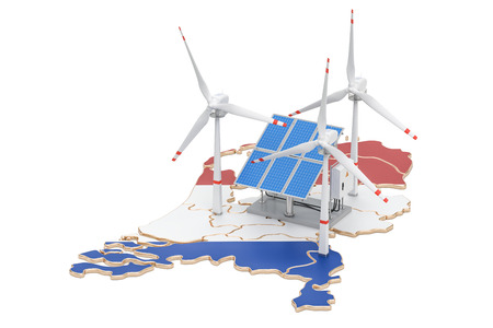 Renewable energy and sustainable development in Netherlands, concept. 3D rendering isolated on white background Reklamní fotografie