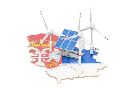 Renewable energy and sustainable development in Serbia, concept. 3D rendering isolated on white background