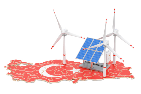 Renewable energy and sustainable development in Turkey, concept. 3D rendering isolated on white background