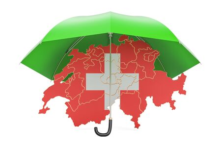Swiss map under umbrella. Security and protect or insurance concept, 3D rendering Stock Photo