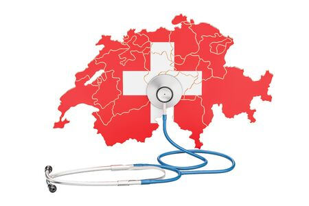 Swiss map with stethoscope, national health care concept, 3D rendering Stock Photo