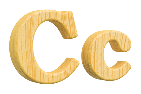 english letters: English wooden letter C, 3D rendering isolated on white background Stock Photo
