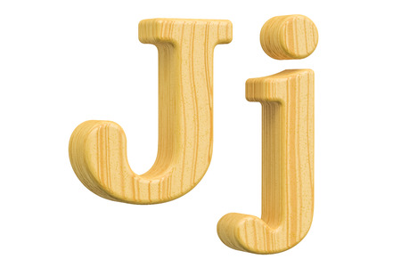 english letters: English wooden letter J, 3D rendering isolated on white background Stock Photo