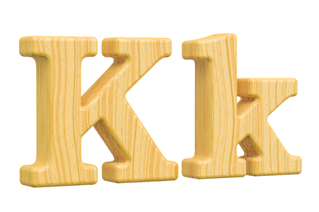 English wooden letter K, 3D rendering isolated on white background