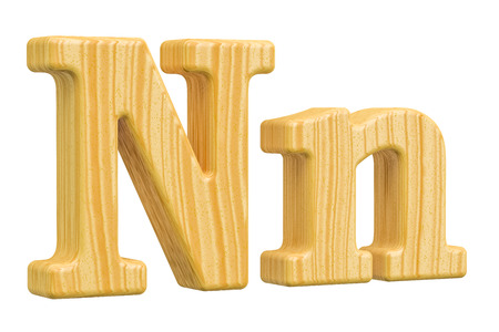 english letters: English wooden letter N, 3D rendering isolated on white background Stock Photo