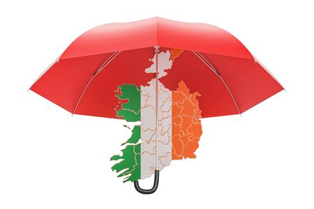 Irish map under umbrella. Security and protect or insurance concept, 3D rendering