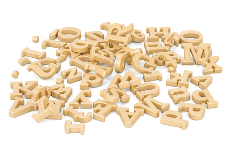 english letters: Pile of wooden letters, 3D rendering  isolated on white background