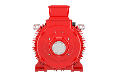 Red industrial electric motor closeup, 3D rendering isolated on white background Stock Photo