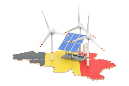 Renewable energy and sustainable development in Belgium, concept. 3D rendering isolated on white background Stock Photo