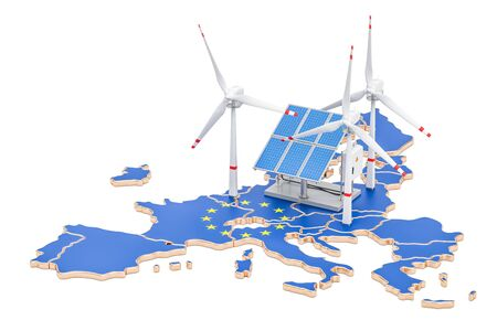 Renewable energy and sustainable development in European Union, concept. 3D rendering isolated on white background Stock Photo