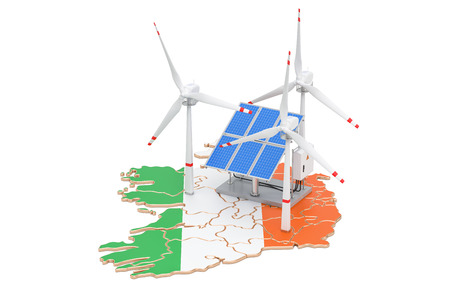 Renewable energy and sustainable development in Ireland, concept. 3D rendering isolated on white background