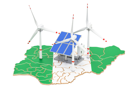 Renewable energy and sustainable development in Nigeria, concept. 3D rendering isolated on white background