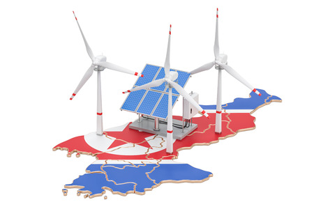 Renewable energy and sustainable development in North Korea, concept. 3D rendering isolated on white background