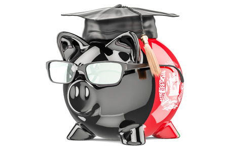 Savings for education in Afghanistan concept, 3D rendering isolated on white background Stock Photo