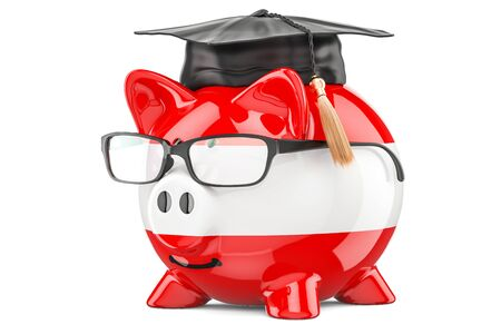 fondo de graduacion: Savings for education in Austria concept, 3D rendering isolated on white background