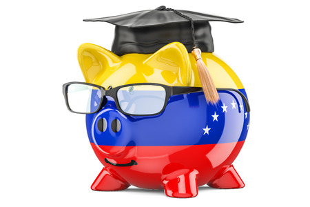 Savings for education in Venezuela concept, 3D rendering isolated on white background Stock Photo